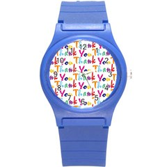 Wallpaper With The Words Thank You In Colorful Letters Round Plastic Sport Watch (s)