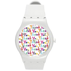 Wallpaper With The Words Thank You In Colorful Letters Round Plastic Sport Watch (m)