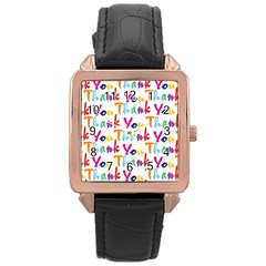 Wallpaper With The Words Thank You In Colorful Letters Rose Gold Leather Watch