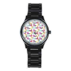 Wallpaper With The Words Thank You In Colorful Letters Stainless Steel Round Watch