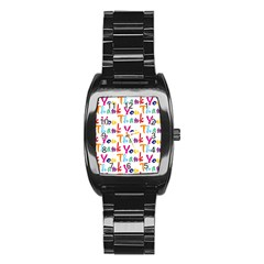 Wallpaper With The Words Thank You In Colorful Letters Stainless Steel Barrel Watch