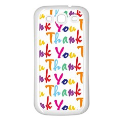 Wallpaper With The Words Thank You In Colorful Letters Samsung Galaxy S3 Back Case (White)