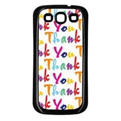 Wallpaper With The Words Thank You In Colorful Letters Samsung Galaxy S3 Back Case (Black)