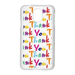 Wallpaper With The Words Thank You In Colorful Letters Samsung Galaxy S5 Case (white)