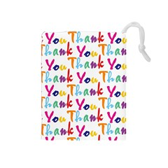 Wallpaper With The Words Thank You In Colorful Letters Drawstring Pouches (Medium)