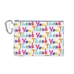 Wallpaper With The Words Thank You In Colorful Letters Canvas Cosmetic Bag (M)