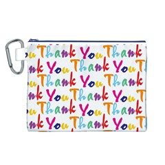 Wallpaper With The Words Thank You In Colorful Letters Canvas Cosmetic Bag (l)