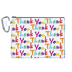 Wallpaper With The Words Thank You In Colorful Letters Canvas Cosmetic Bag (XL)
