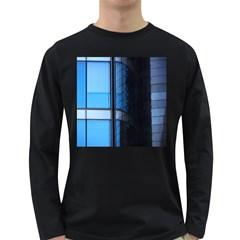 Modern Office Window Architecture Detail Long Sleeve Dark T Shirts