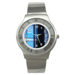 Modern Office Window Architecture Detail Stainless Steel Watch