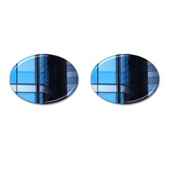 Modern Office Window Architecture Detail Cufflinks (oval)