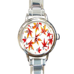 Colorful Autumn Leaves On White Background Round Italian Charm Watch