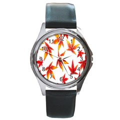 Colorful Autumn Leaves On White Background Round Metal Watch