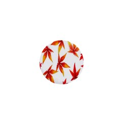 Colorful Autumn Leaves On White Background 1  Mini Buttons
