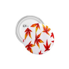 Colorful Autumn Leaves On White Background 1.75  Buttons