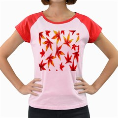 Colorful Autumn Leaves On White Background Women s Cap Sleeve T Shirt