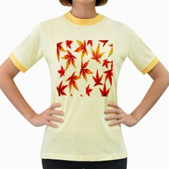 Colorful Autumn Leaves On White Background Women s Fitted Ringer T Shirts