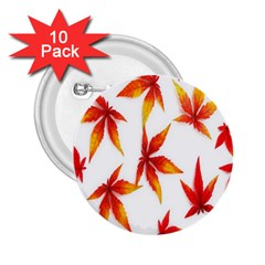 Colorful Autumn Leaves On White Background 2.25  Buttons (10 pack)