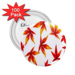Colorful Autumn Leaves On White Background 2 25  Buttons (100 Pack)