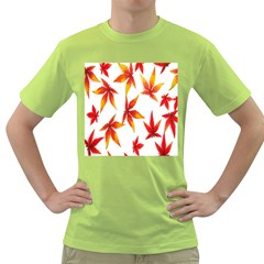 Colorful Autumn Leaves On White Background Green T Shirt