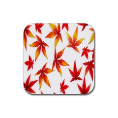 Colorful Autumn Leaves On White Background Rubber Square Coaster (4 Pack)