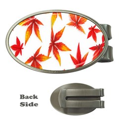 Colorful Autumn Leaves On White Background Money Clips (oval)