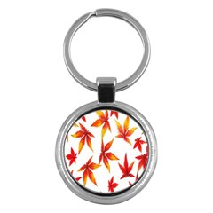 Colorful Autumn Leaves On White Background Key Chains (round)