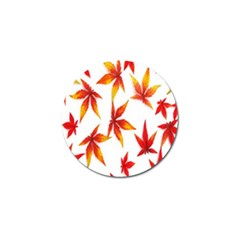 Colorful Autumn Leaves On White Background Golf Ball Marker (4 Pack)