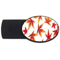 Colorful Autumn Leaves On White Background USB Flash Drive Oval (2 GB)