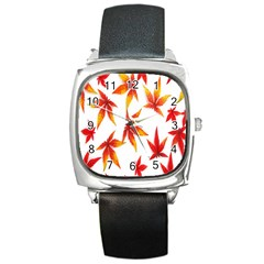 Colorful Autumn Leaves On White Background Square Metal Watch