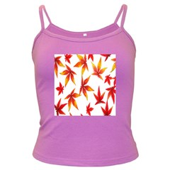 Colorful Autumn Leaves On White Background Dark Spaghetti Tank