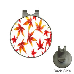 Colorful Autumn Leaves On White Background Hat Clips with Golf Markers