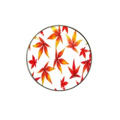 Colorful Autumn Leaves On White Background Hat Clip Ball Marker (10 pack)