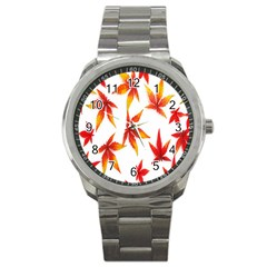 Colorful Autumn Leaves On White Background Sport Metal Watch