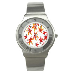 Colorful Autumn Leaves On White Background Stainless Steel Watch