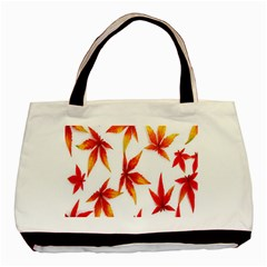 Colorful Autumn Leaves On White Background Basic Tote Bag