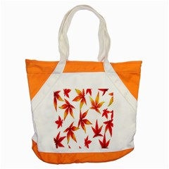 Colorful Autumn Leaves On White Background Accent Tote Bag