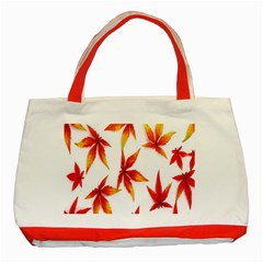 Colorful Autumn Leaves On White Background Classic Tote Bag (Red)