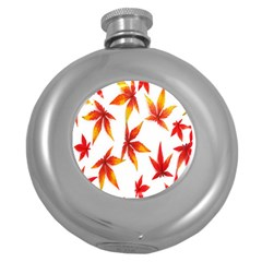 Colorful Autumn Leaves On White Background Round Hip Flask (5 oz)