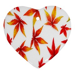 Colorful Autumn Leaves On White Background Heart Ornament (two Sides)