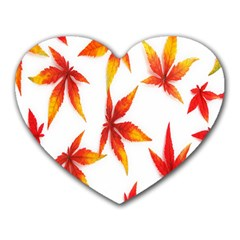 Colorful Autumn Leaves On White Background Heart Mousepads