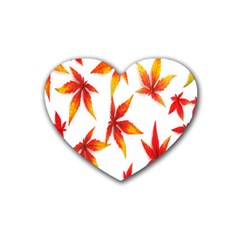 Colorful Autumn Leaves On White Background Rubber Coaster (heart)
