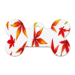 Colorful Autumn Leaves On White Background Dog Tag Bone (two Sides)
