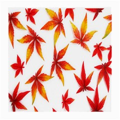 Colorful Autumn Leaves On White Background Medium Glasses Cloth (2 Side)