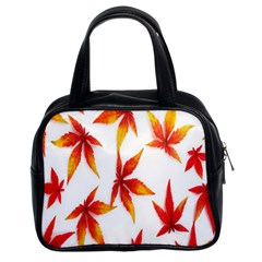 Colorful Autumn Leaves On White Background Classic Handbags (2 Sides)