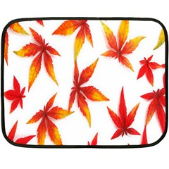 Colorful Autumn Leaves On White Background Double Sided Fleece Blanket (mini)