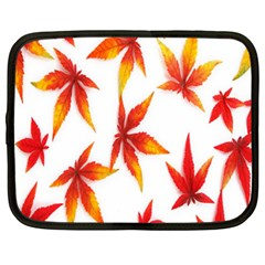Colorful Autumn Leaves On White Background Netbook Case (xxl)