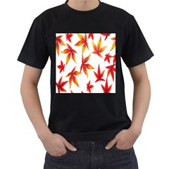 Colorful Autumn Leaves On White Background Men s T Shirt (black)