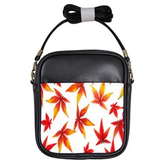 Colorful Autumn Leaves On White Background Girls Sling Bags