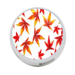 Colorful Autumn Leaves On White Background 4 Port Usb Hub (one Side)